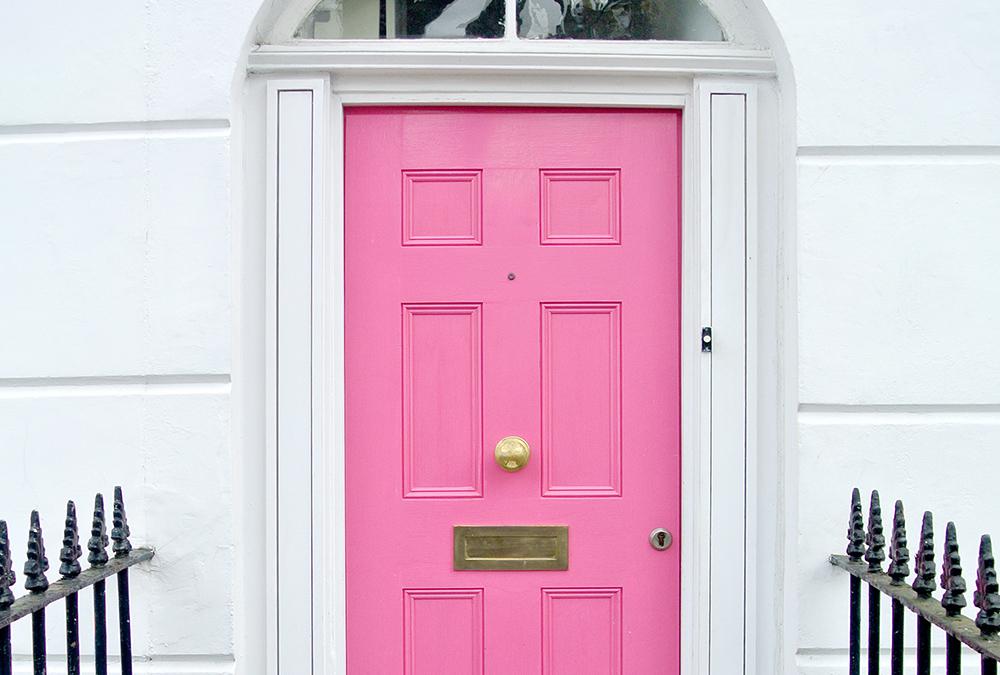 pink steel front door