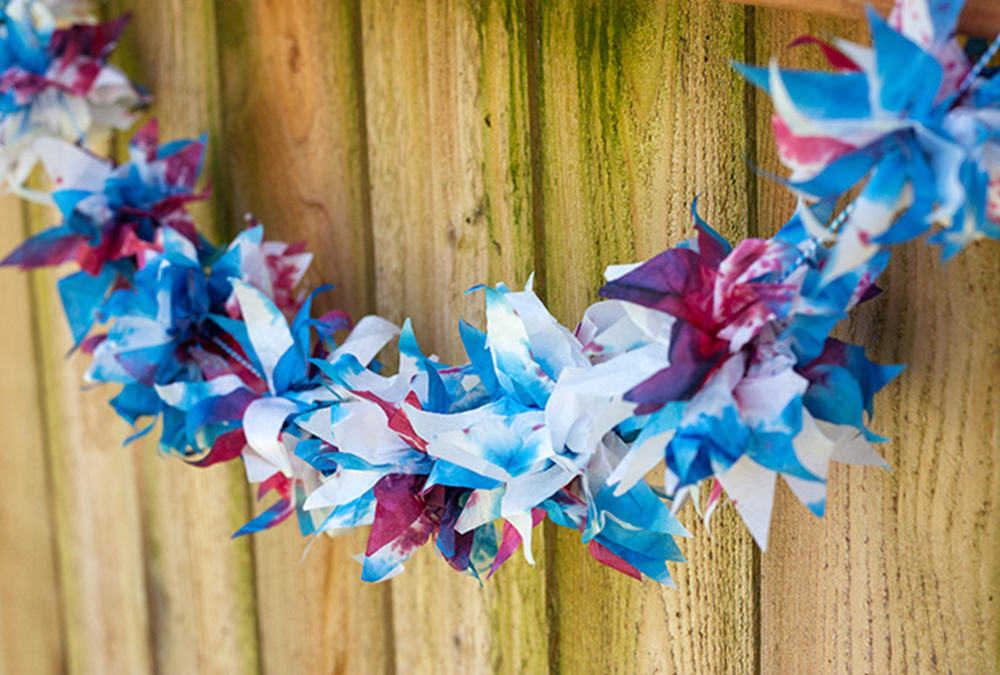red, white, and blue lighted garland