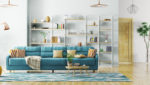 colorful living room with large bookshelf