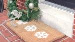 snowflake doormat and wreath