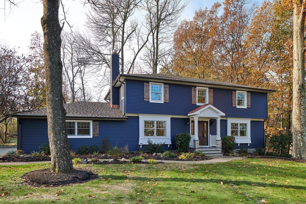 Dark blue home front view