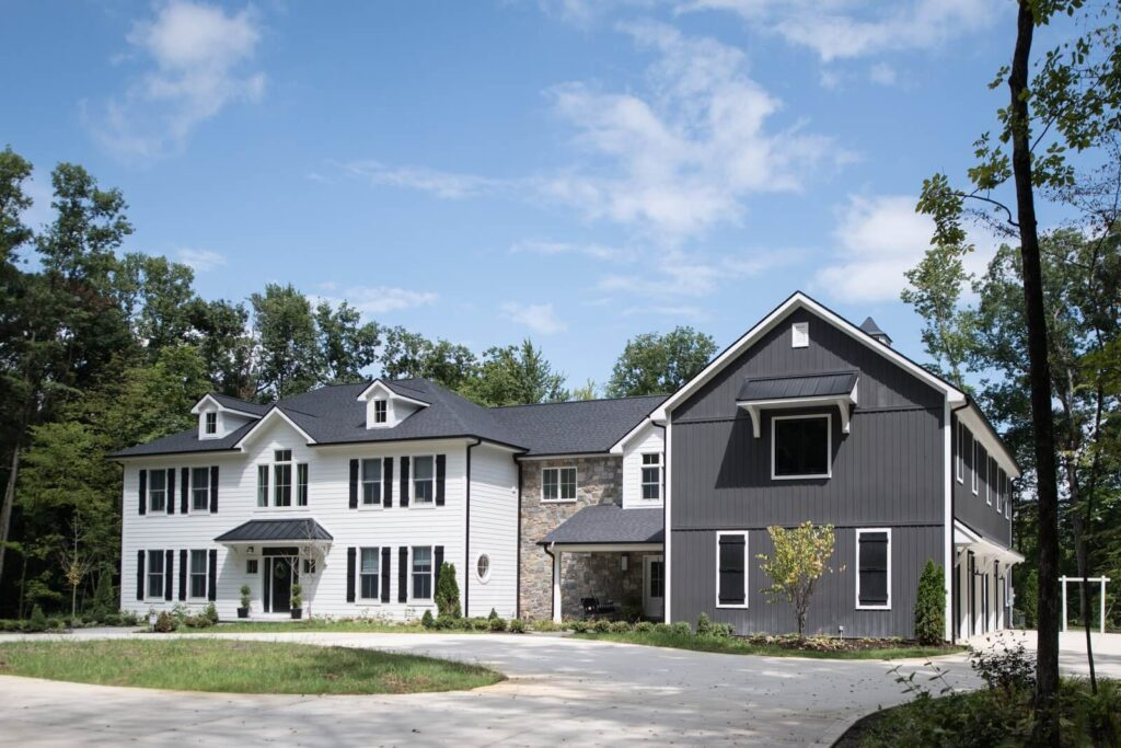 Front view of white and gray home
