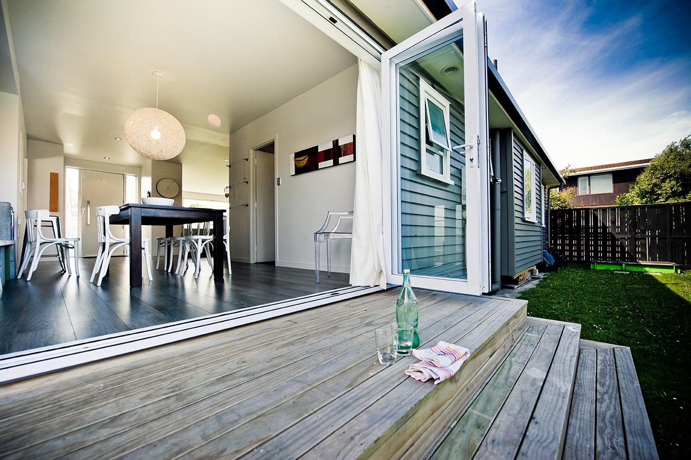 beautiful decking with open patio doors