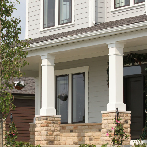Celect 7 Clapboard In River Rock And Celect Trim In Frost Royal