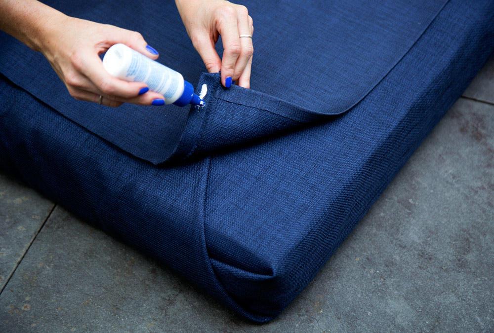 DIY outdoor cushions fabric glue