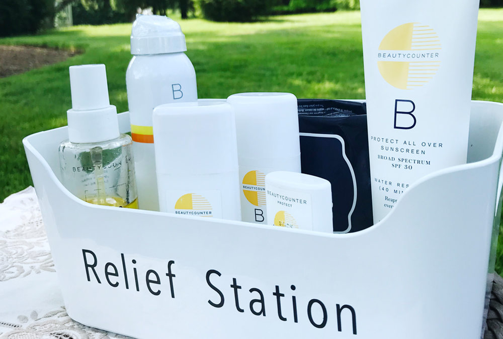 outdoor relief station including sunscreen and bug spray