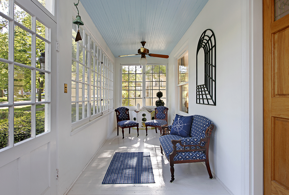 porch with light blue ceilings