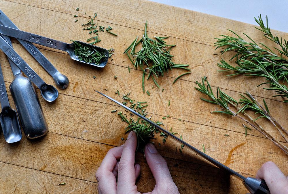 chopping fresh herbs